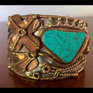 Silver, Turquoise, Brass artisan designed cuff